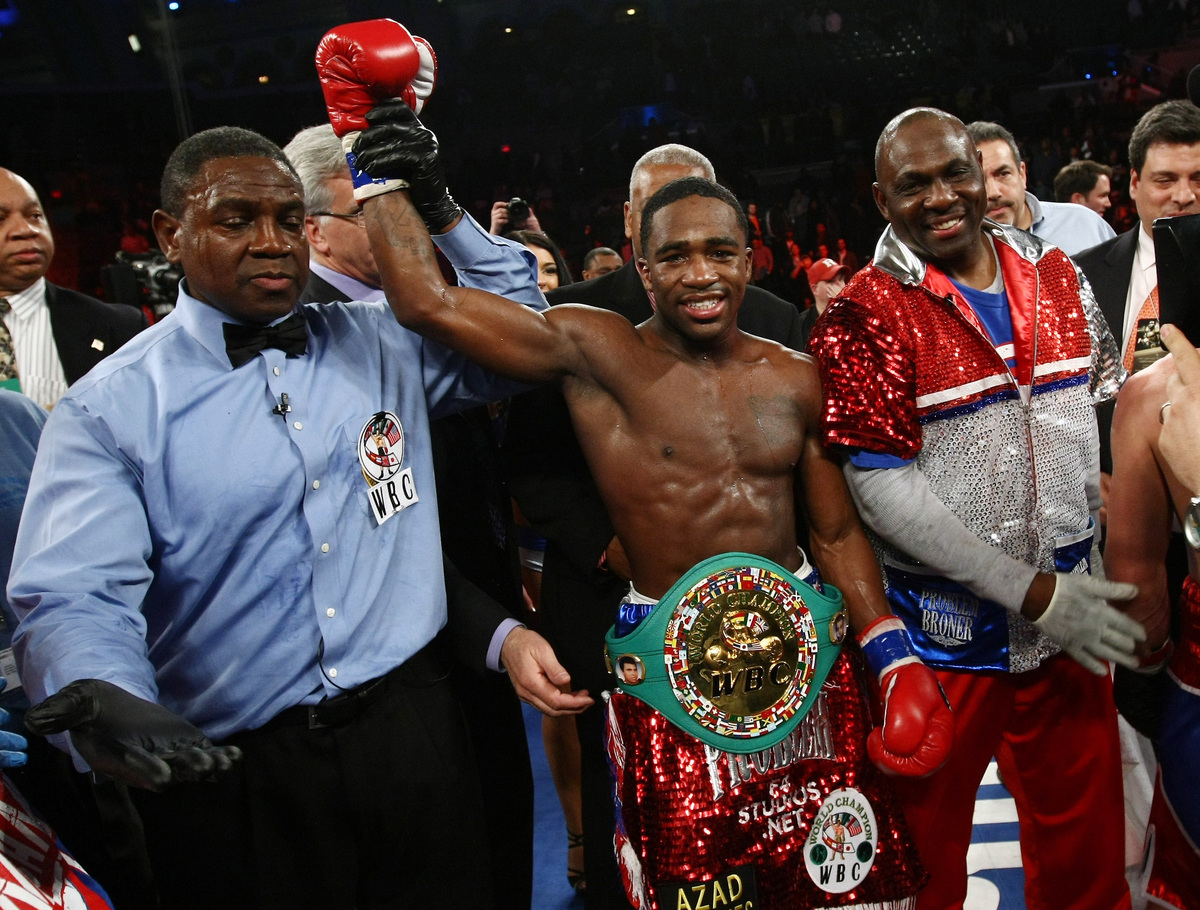 Adrien Broner celebrates after beating Gavin Rees of Britain in their WBC lightweight title match in Atlantic City, N..J. on
