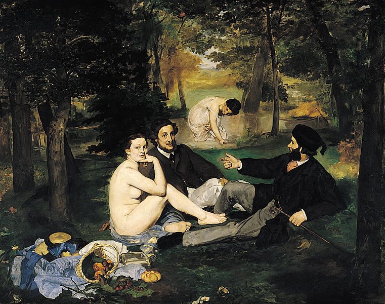 Le Déjeuner sur l'herbe (The Luncheon on the Grass) Édouard Manet 1862–1863 Oil on canvas 208 cm × 265.5 cm (81.9 in × 104.5