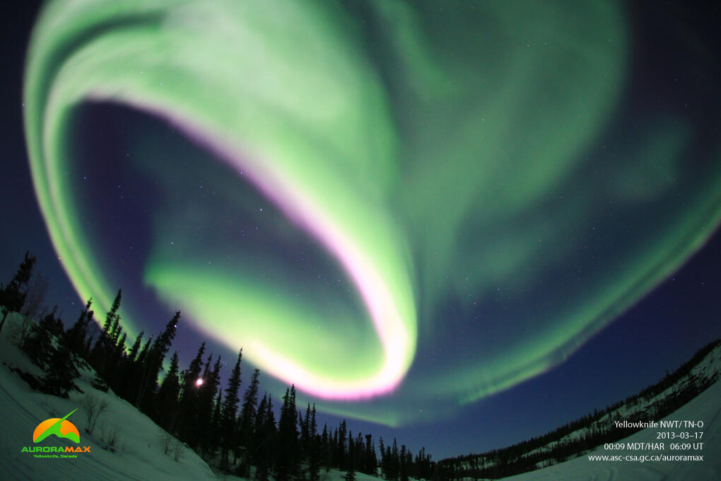 These images captured by the Canadian Space Agency's AuroraMax camera show the Aurora Borealis displays of dancing light. Mor