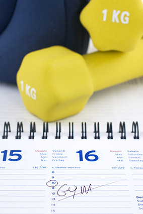 Good intentions often lead to unrealistic plans. Instead, for a week or month, choose a doable number of days to work out and