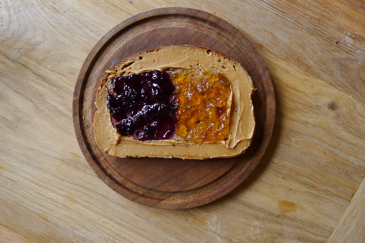 This peanut butter and jelly isn't just abstract, it's also boasting two flavors of jelly: blueberry and white grape.