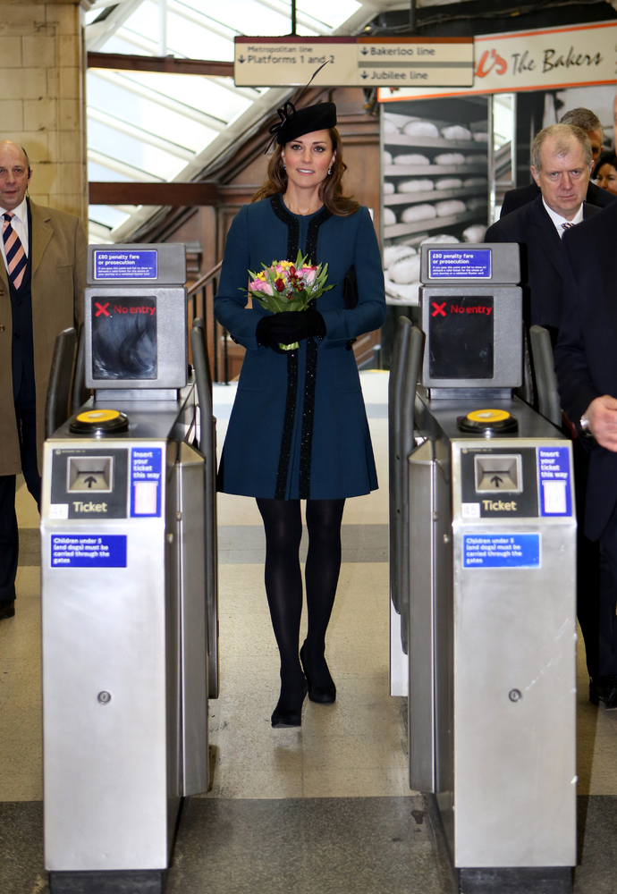 The Duchess of Cambridge during a visit to Baker Street Tube Station in London to mark 150th anniversary of the London Underg