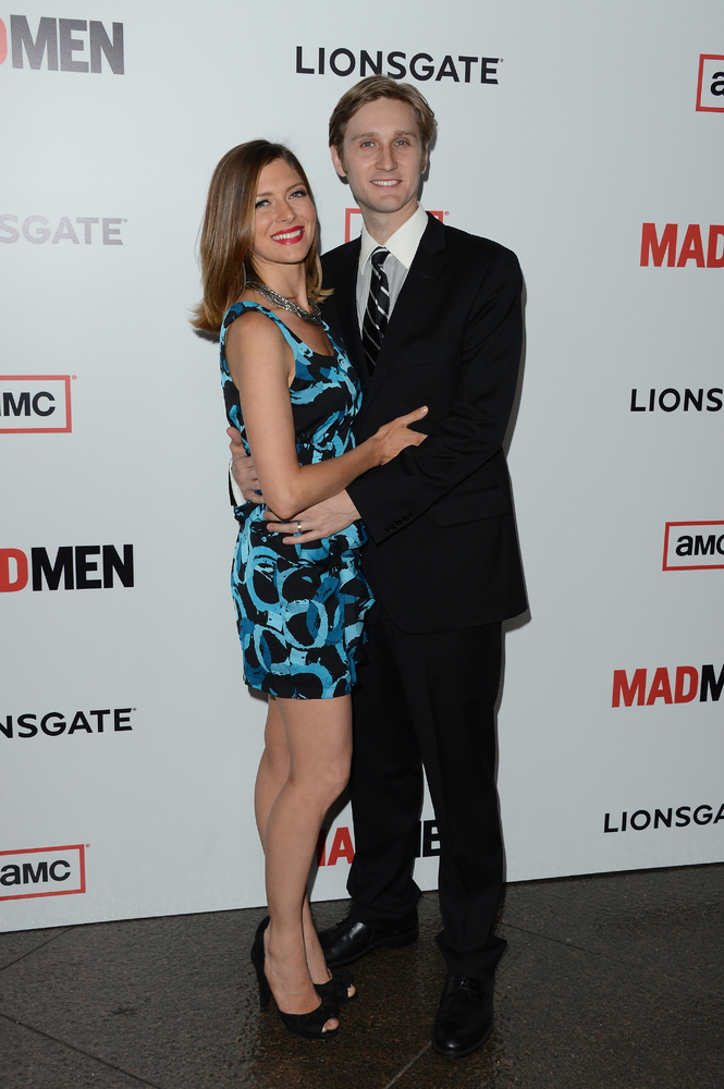 LOS ANGELES, CA - MARCH 20:  Actors Aaron Staton and Connie Fletcher arrive at the Premiere of AMC's 'Mad Men' Season 6 at DG