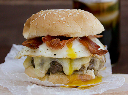 """<strong>Get the <a href=""""http://www.tasteandtellblog.com/bacon-and-egg-burger-recipe/"""" target=""""_blank"""">Bacon and Egg Burger r"""