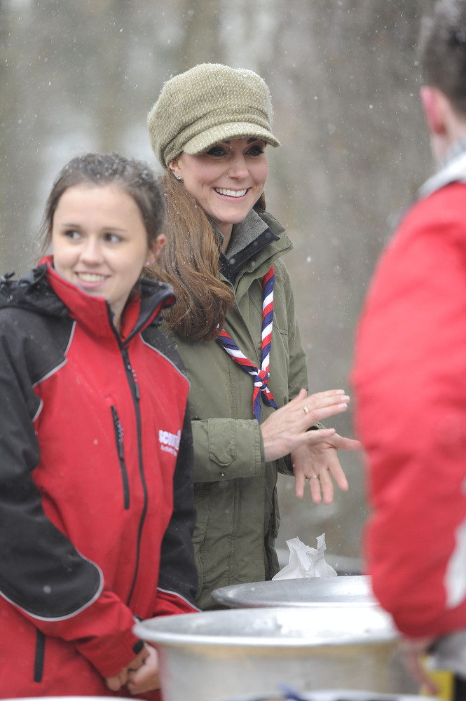 WINDERMERE, UNITED KINGDOM - MARCH 22: Catherine, Duchess of Cambridge visits Great Tower Scout camp on March 22, 2013 in Win