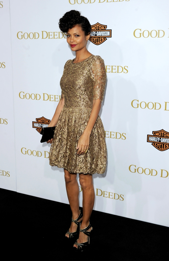 February 2012 Thandie Newton attended the premiere for her latest film, Good Deeds, in a gorgeous, golden lace dress by Temp