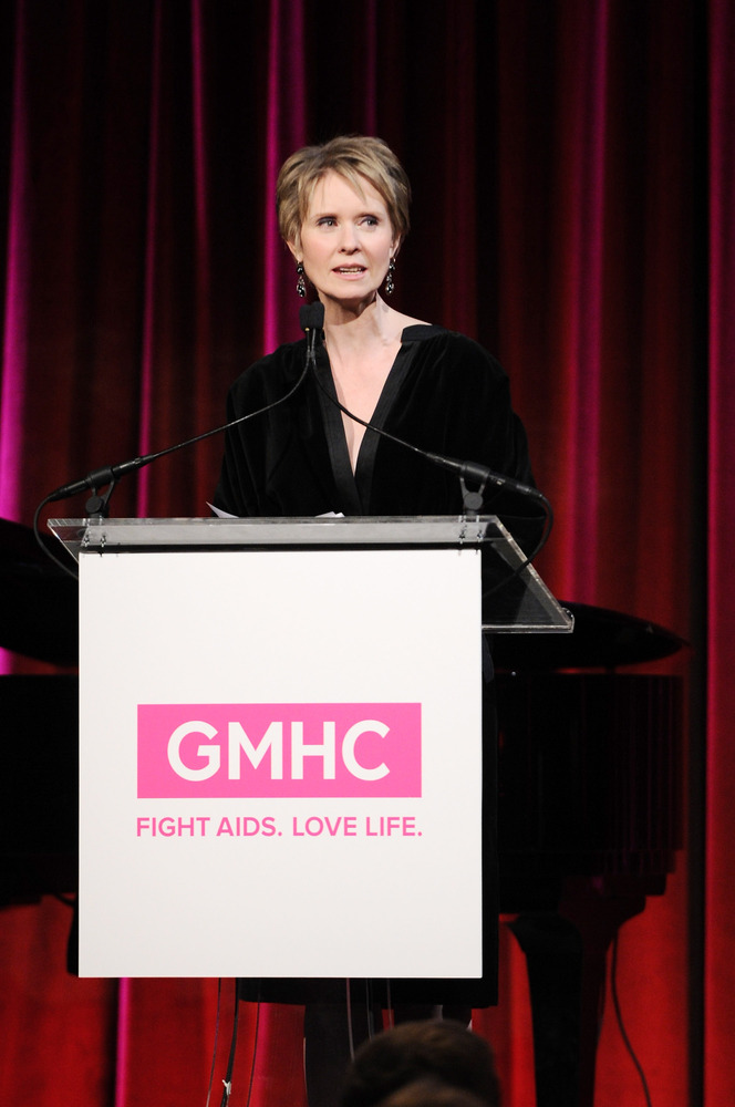 Actress Cynthia Nixon speaks onstage at GMHC's 5th Annual SAVOR Dinner hosted by Cynthia Nixon at Cipriani 42nd Street on Ma