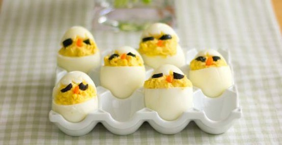 "A cute (and tasty) take on deviled eggs. <a href=""http://www.kitchendaily.com/recipe/chick-deviled-eggs-or-egg-salad"" target="