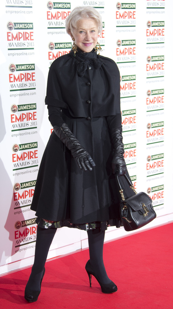 Dame Helen Mirren arrives for the Jameson Empire Awards at Grosvenor House in central London, Sunday, Mar. 24, 2013. (Photo b