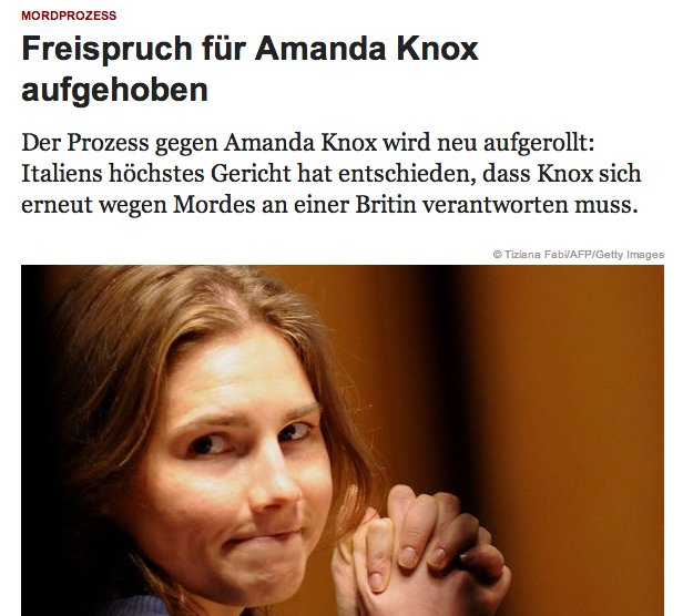 Acquittal for Amanda Knox Repealed