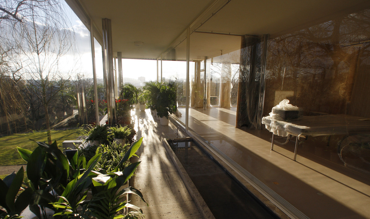 This photo taken Wednesday, Jan. 25, 2012, shows the winter garden of Tugendhat Villa during the final stages of its reconstr