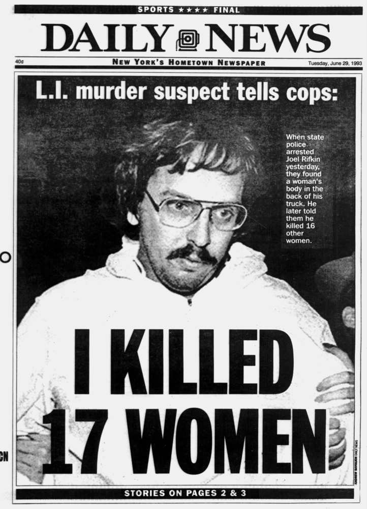UNITED STATES - JUNE 29:  Daily News Frontpage dated June 29, 1993, L.I. murder suspect tells cops:, I KILLED 17 WOMEN, When