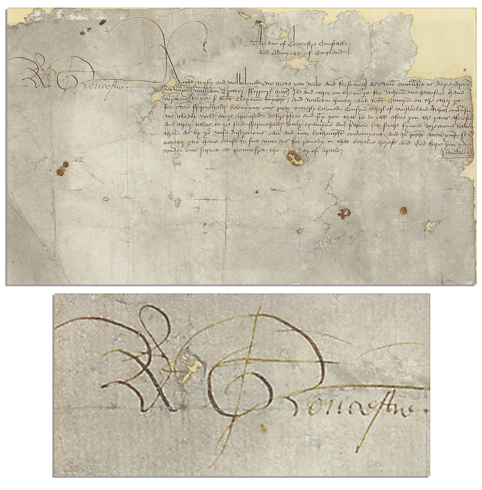 This image provided by Nate D. Sanders Auctions shows a document signed by Richard III. The document is dated circa 1473. See