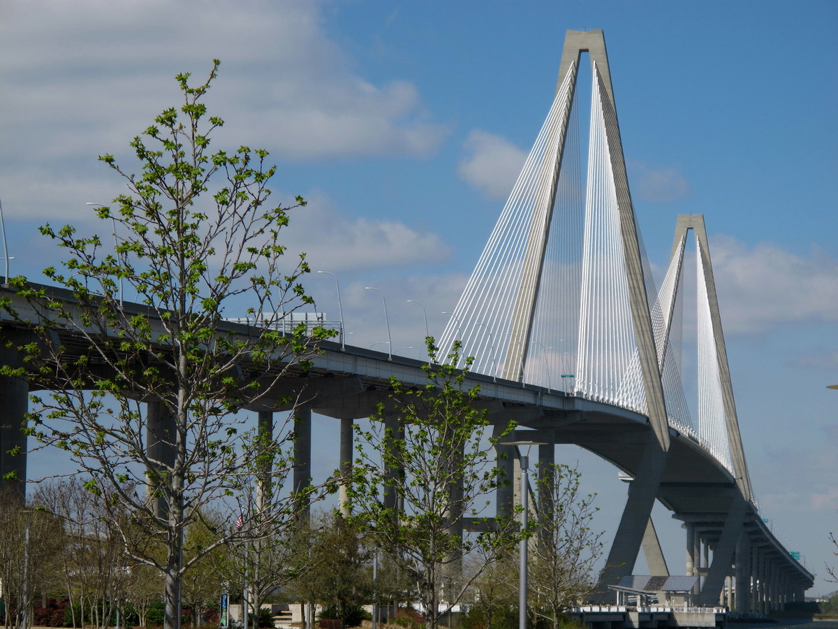 The Arthur Ravenel Bridge linking Mount Pleasant, S.C., and Charleston, S.C. The bridge, which cost $632 million to build, ha