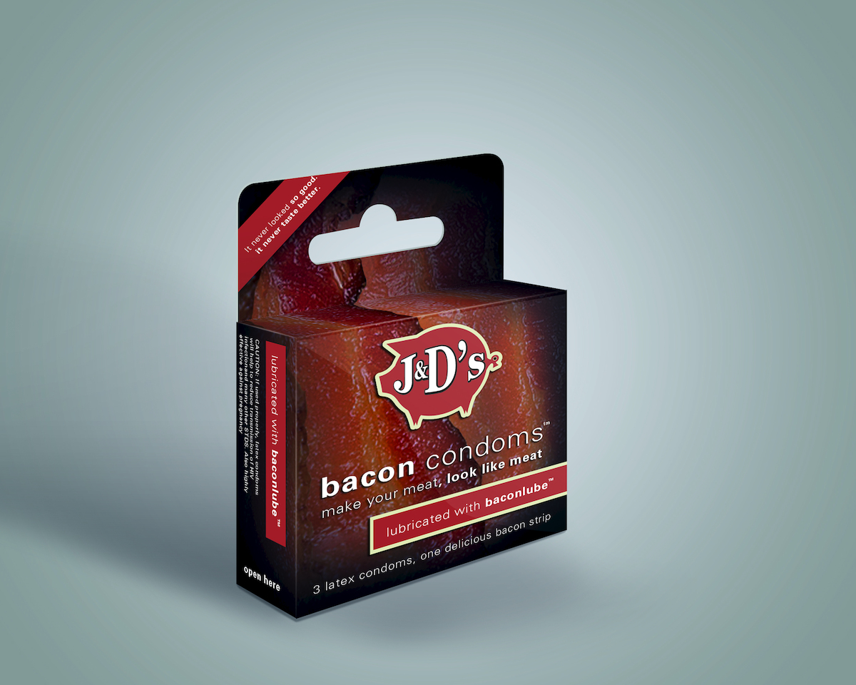 """J&D's Foods Bacon Condoms are just the latest from<a href=""""http://www.jdfoods.net/"""" target=""""_blank""""> the creators of Baconnai"""