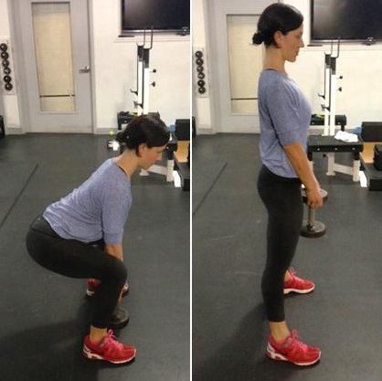 <strong>Beginner: </strong>Kettlebell or dumbbell deadlift (shown here). *Do 3 sets of 10 to 12 reps, resting 60 seconds betw