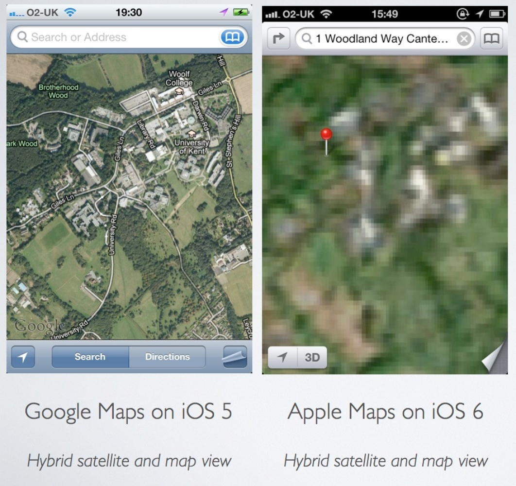 In June 2012, Apple announced that it would be dropping the popular Google Maps app, replacing it in iOS 6 with its own homeg