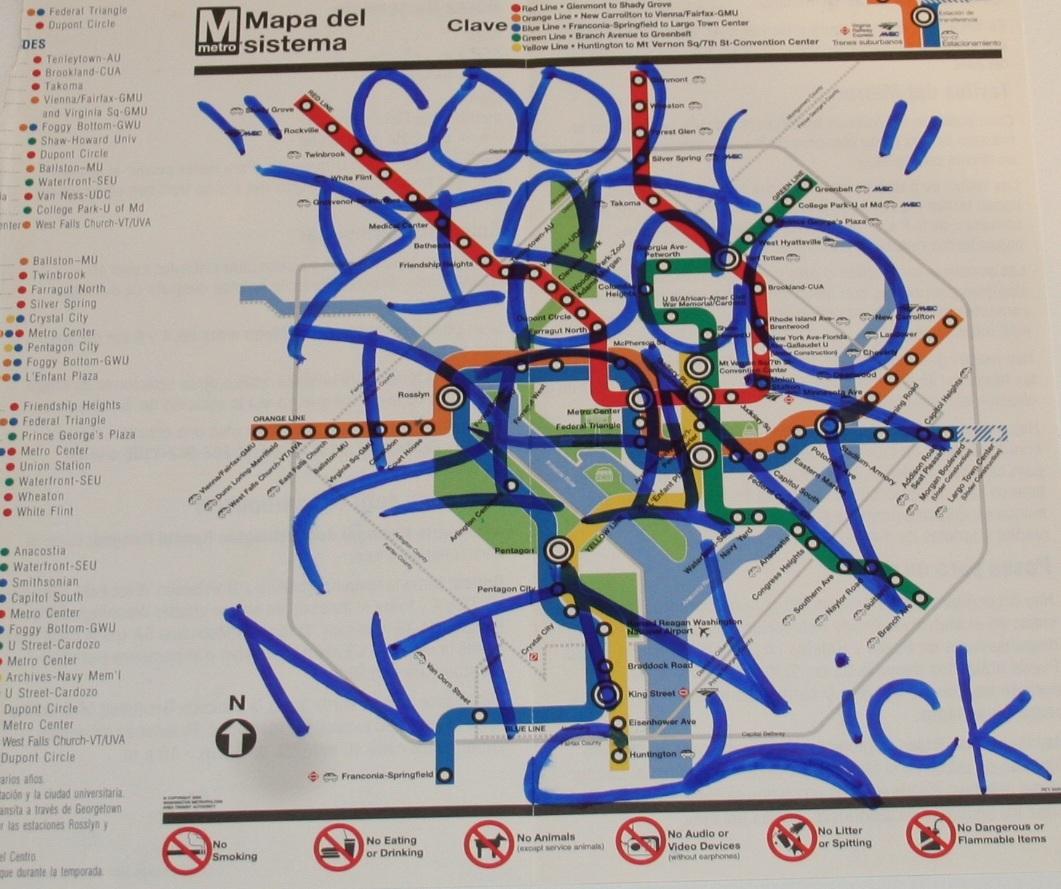 "COOL ""DISCO"" DAN. <em>Metro Map</em>, 2006-2009. Marker on found paper."