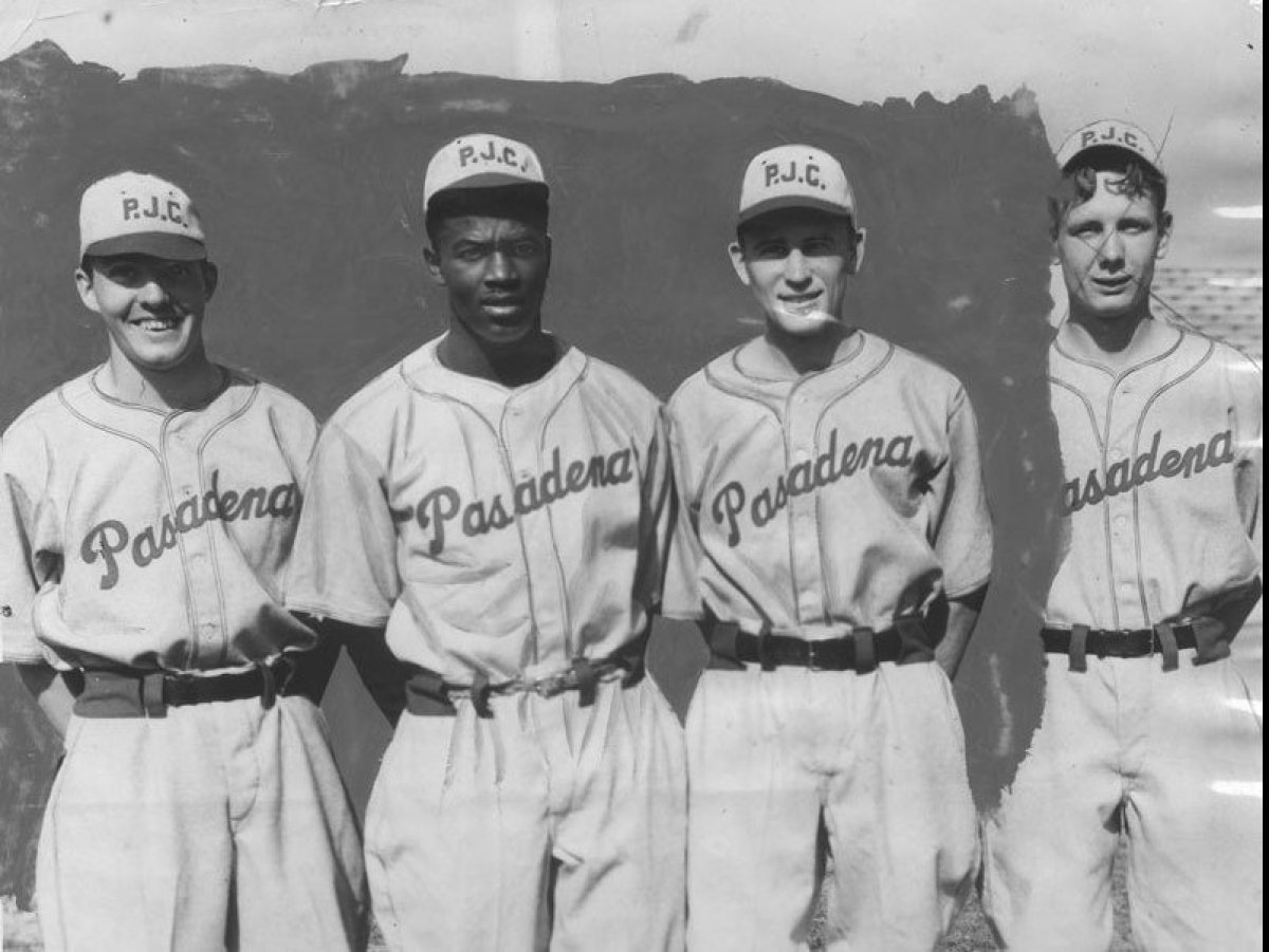 The infield for the Pasadena Junior College baseball team, from left to right: Stan Gray, second base, Jackie Robinson, short