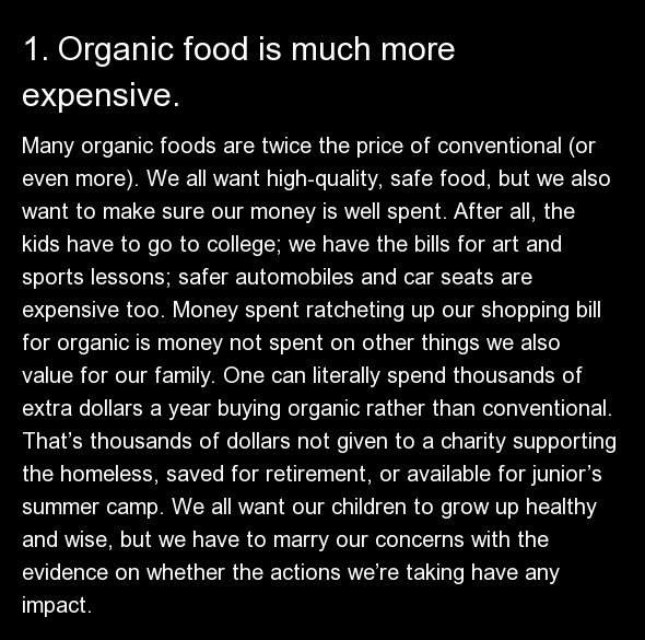 Many organic foods are twice the price of conventional (or even more). We all want high-quality, safe food, but we also want