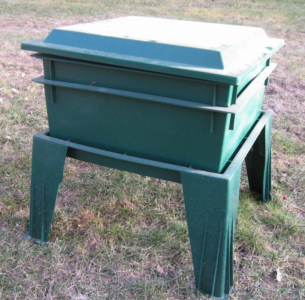 A vermicomposting bin that houses the worms