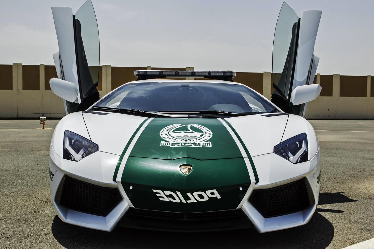 This image released by the Dubai Police, shows a Lamborghini Aventador, in Dubai, United Arab Emirates, Thursday, April 11, 2