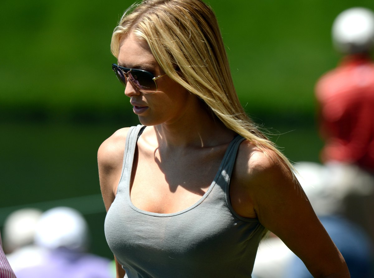 Paulina Gretzky, girlfriend of Dustin Johnson of the US and the  daugter of hockey legend Wayne Gretzky during the Par 3 Cont