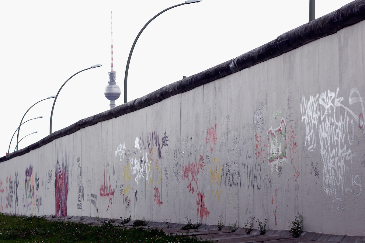 A still-existing section of the Berlin Wall, where East German border guards once had the order to shoot anyone attempting to