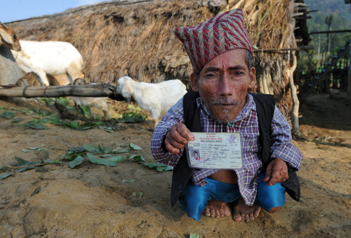 In a picture taken on February 9, 2012, Chandra Bahadur Dangi, a 72-year-old Nepali who claims to be the world's shortest man