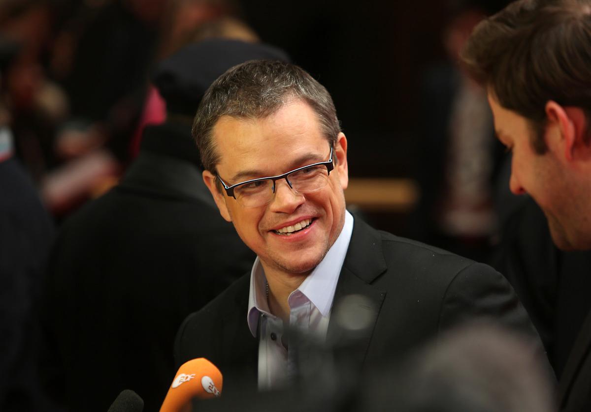 """El actor Matt Damon llegan al estreno de """"Promised Land"""" en la 63a edición del Festival de Cine de Berlin el viernes 8 de feb"""