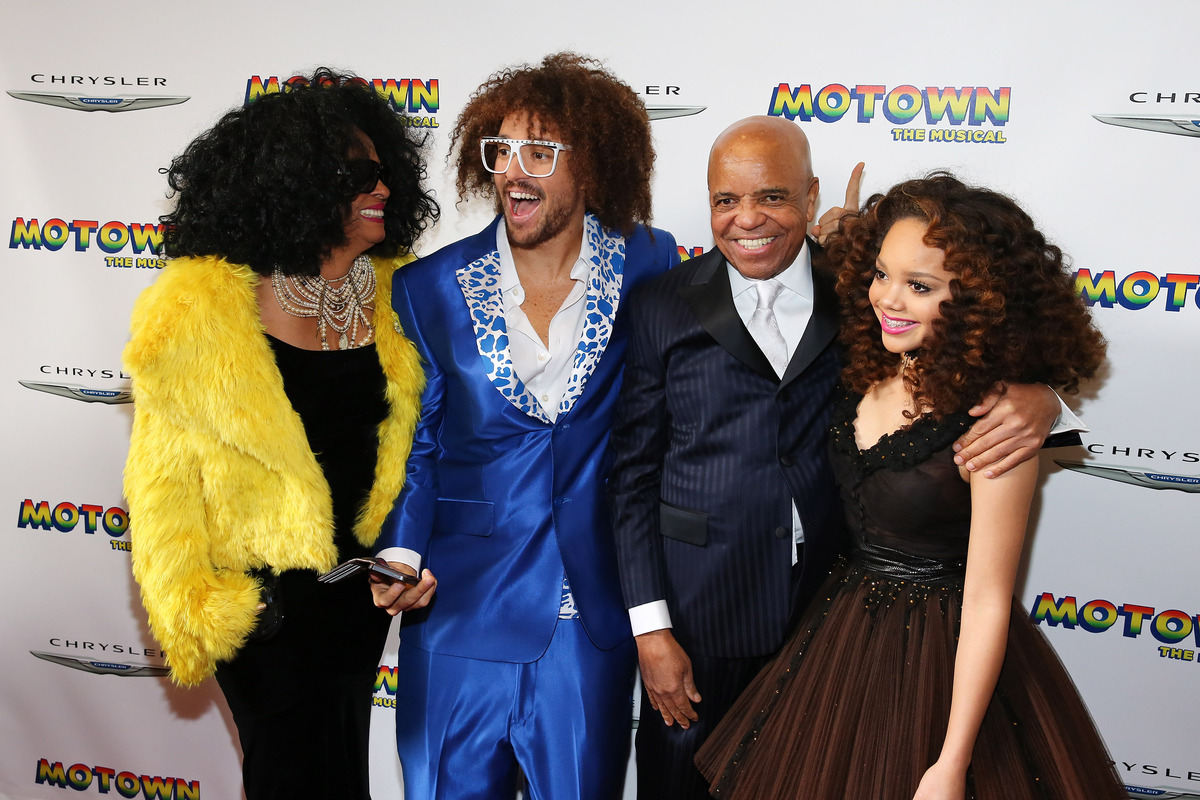 NEW YORK, NY - APRIL 14:  (L-R) Diana Ross, RedFoo, Berry Gordy Jr. and Jada Grace attend the Broadway opening night for 'Mot