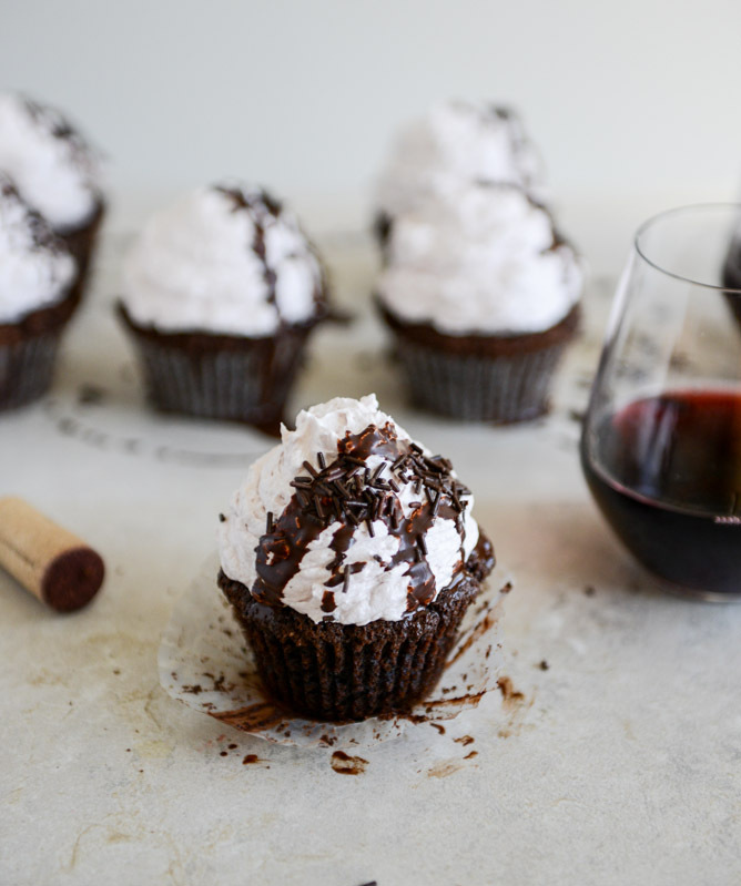 "<strong>Get the <a href=""http://www.howsweeteats.com/2013/02/dark-chocolate-fudge-merlot-cupcakes/"" target=""_blank"">Dark Choc"