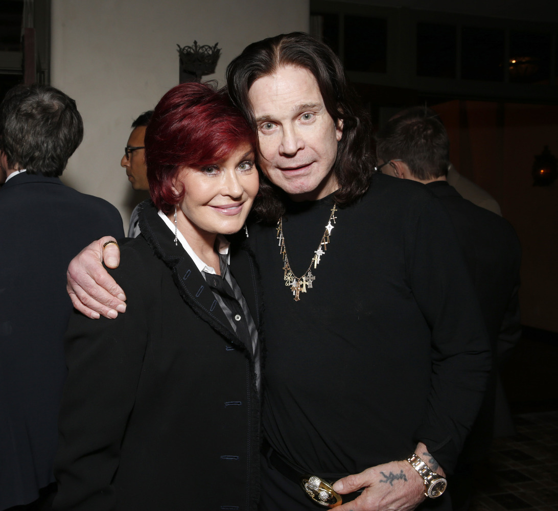 Sharon Osbourne and Ozzy Osbourne attend a Grammy Party hosted by Lucian Grainge on Sunday, Feb. 10, 2013 in Los Angeles. (Ph
