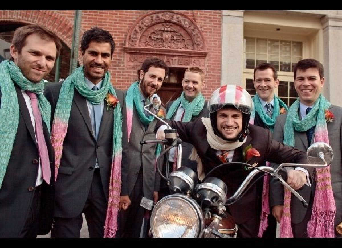 For a unique and one-of-a-kind entrance, choose a unique and one-of-a-kind vehicle. A vintage motorcycle will have any groom