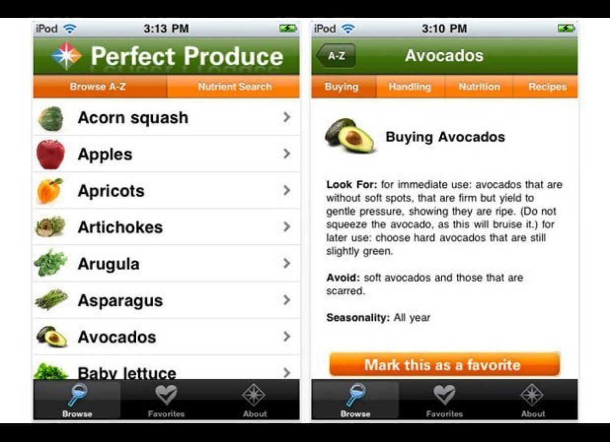 Perfect produce is an electronic fruits and vegetables glossary in your pocket. It tells you how to buy, store, and even use
