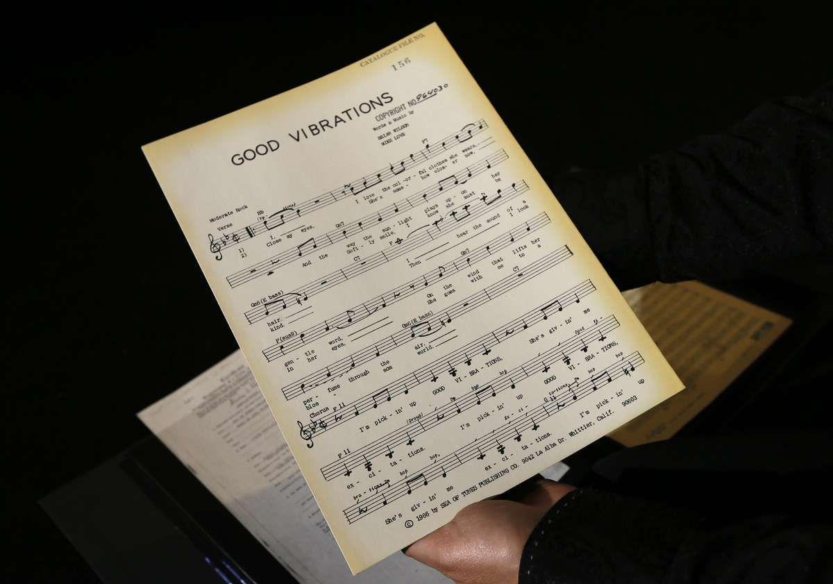 A musical manuscript of 'Good Vibrations' is displayed in London, Thursday, April 18, 2013. A large archive collection of The