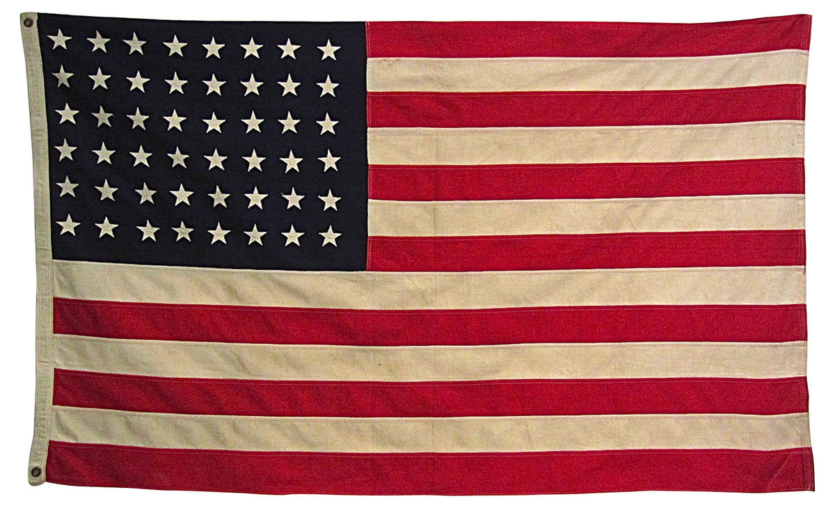 "1950s American flag with metal grommets. Individually pieced and sewn stars and stripes.  <strong>From</strong>: <a href=""htt"