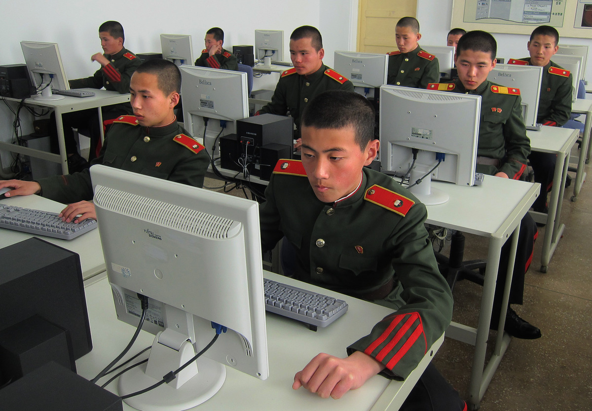 In this Thursday, April 18, 2013 photo, students at the Mangyongdae Revolutionary School, in Pyongyang, North Korea work on c