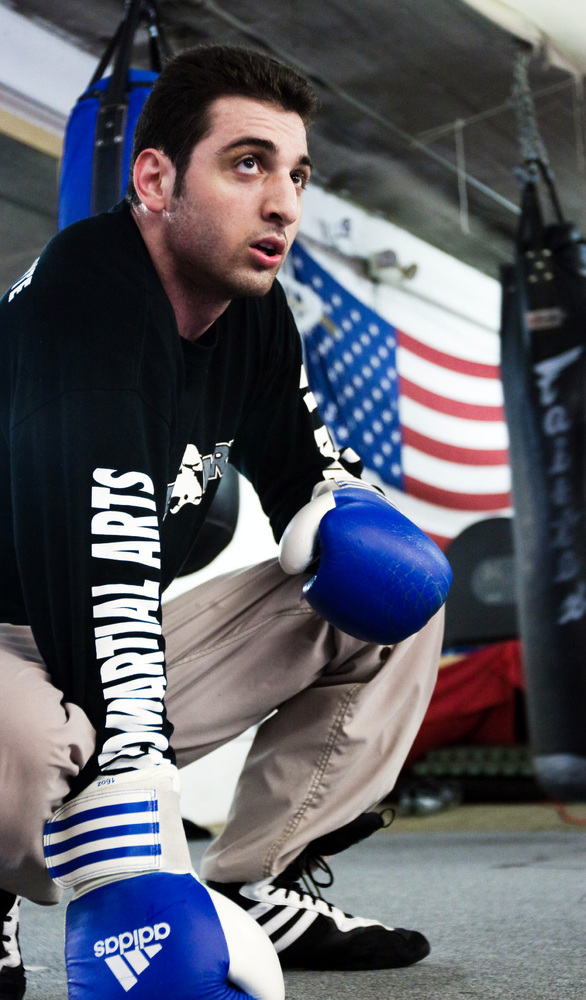 BOSTON, MA - APRIL 2009: Tamerlan Tsarnaev practices boxing at the Wai Kru Mixed Martial Arts center in April 2009 in Boston,