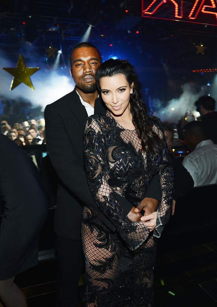 LAS VEGAS, NV - DECEMBER 31:  (Exclusive Coverage) Kanye West and Kim Kardashian celebrate New Year's Eve countdown at 1 OAK