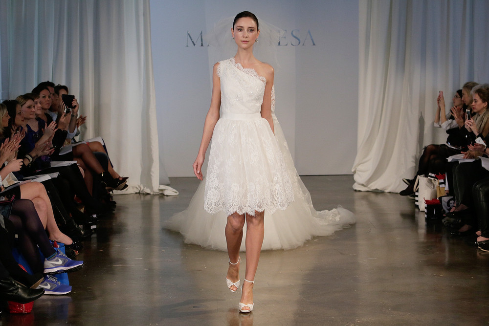 While certainly nontraditional, short skirts took center stage at Bridal Market this season. From tea length to way-above-the