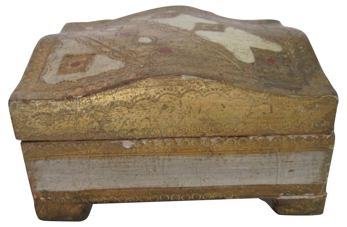 """Italian wood box in gold, white and red. No maker's mark.  From: <a href=""""https://www.onekingslane.com/sales/19994?utm_sour"""