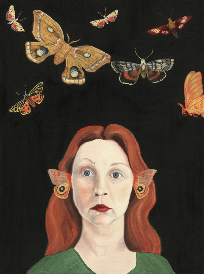 "Audrey Niffenegger ""Moths of the New World,"" 2005 Oil on wooden panel 12 x 9 in. Collection of Mary Jean Thomson, Riverwoods,"