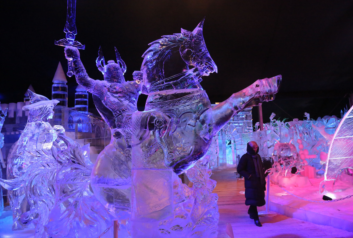 BRUGGE, BELGIUM - DECEMBER 05: Ice Sculptures are displayed at the Snow and Ice Sculpture Festival on December 5, 2012 in Bru