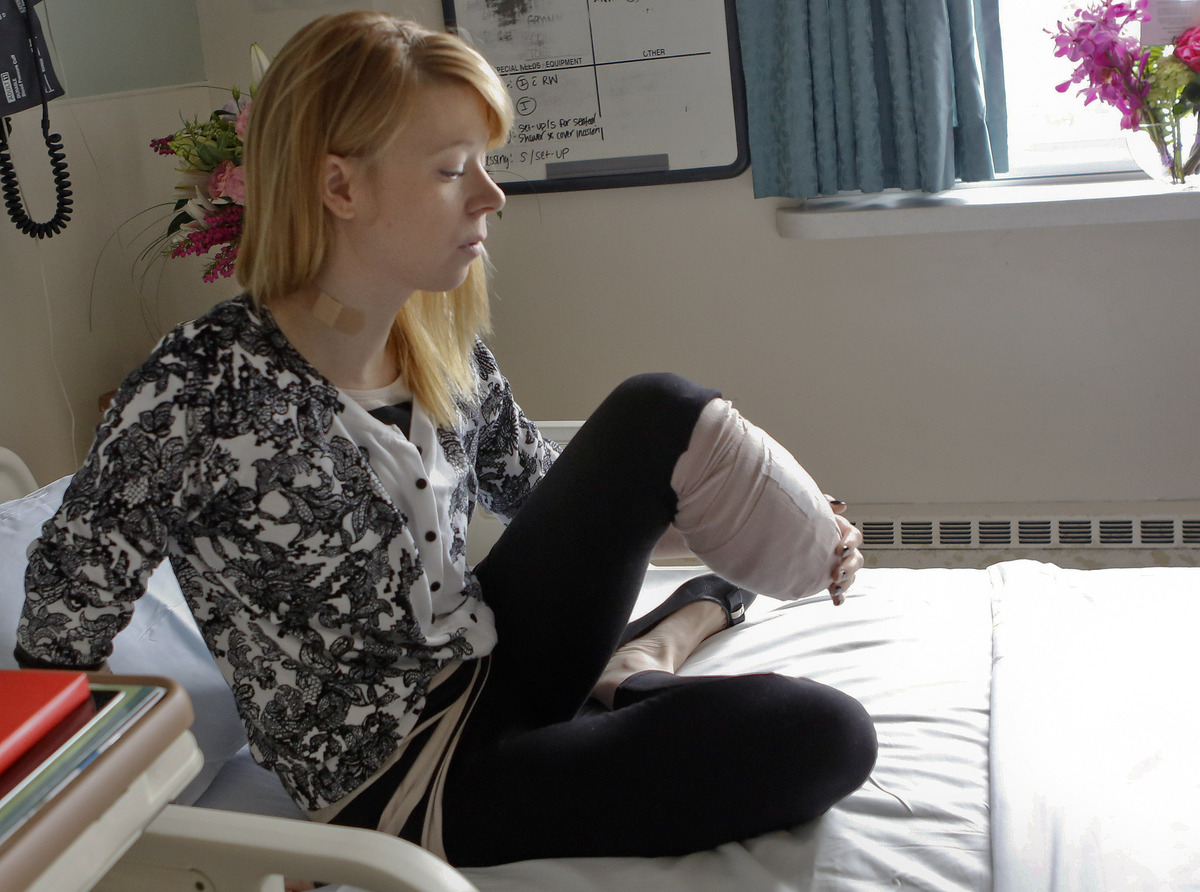 Adrianne Haslet, a a professional ballroom dancer injured by one of the bombs that exploded near the Boston Marathon finish l