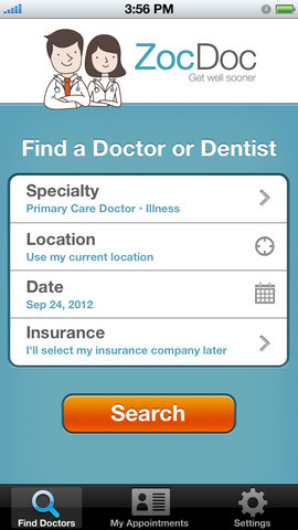 This app allows patients to find a nearby doctor or dentist who accepts their insurance, see their availability, and book an