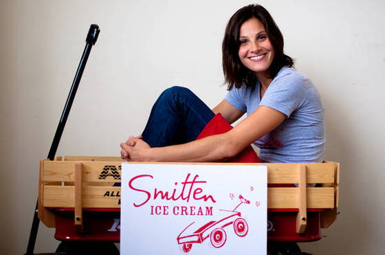 Robyn Sue Fisher and her first 'store' -- a wooden wagon she used to pull around her ice cream machine and sell scoops on the