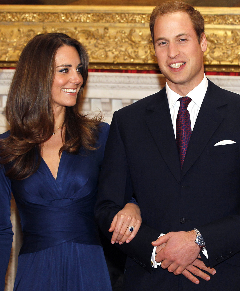 Britain's Prince William and his fiancee Kate Middleton are seen at St. James's Palace in London, after they announced their