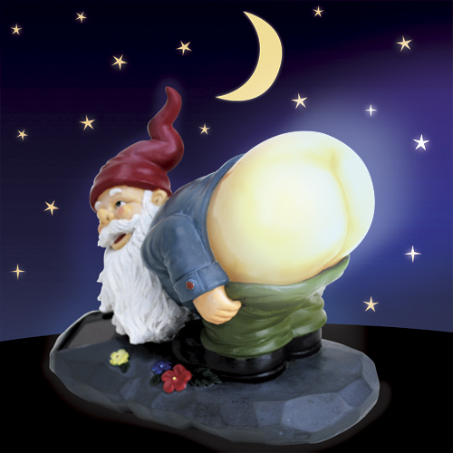 """Gnomes are supposed to be good luck in a garden and solar lighting can light up the backyard. This<a href=""""http://www.taylorg"""