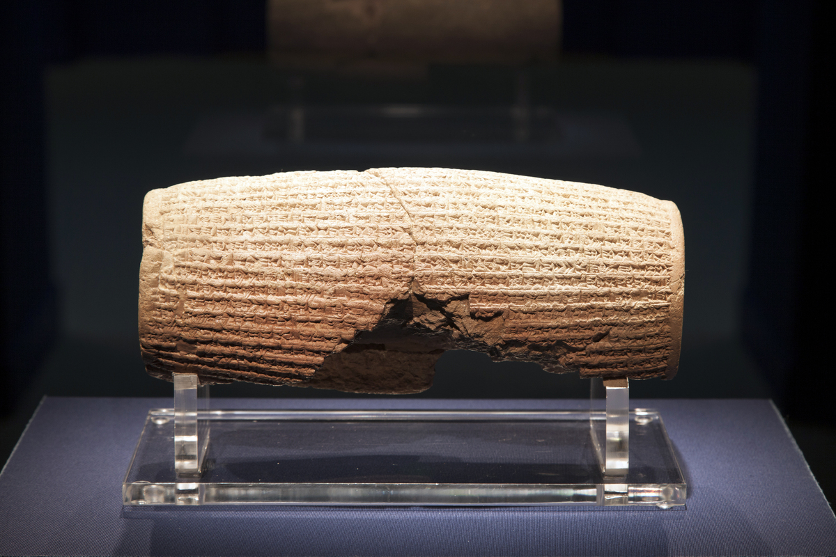 In this image provided by The Smithsonian Institution, the Cyrus Cylinder is seen on display at the Smithsonian's Freer Sackl